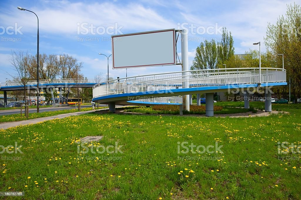 Blank Billboard, advertising and descent for bicycles royalty-free stock photo
