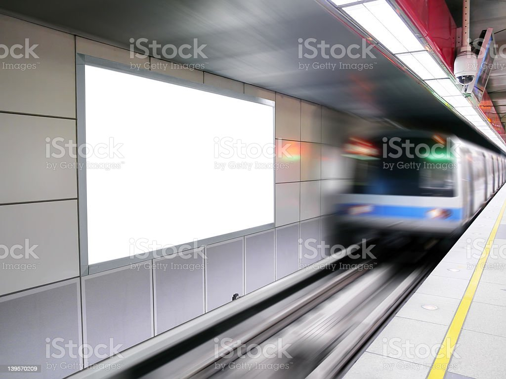 Blank billboard and train stock photo