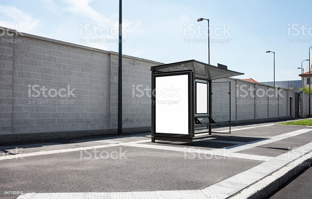 Blank Billboard at a bus station stock photo