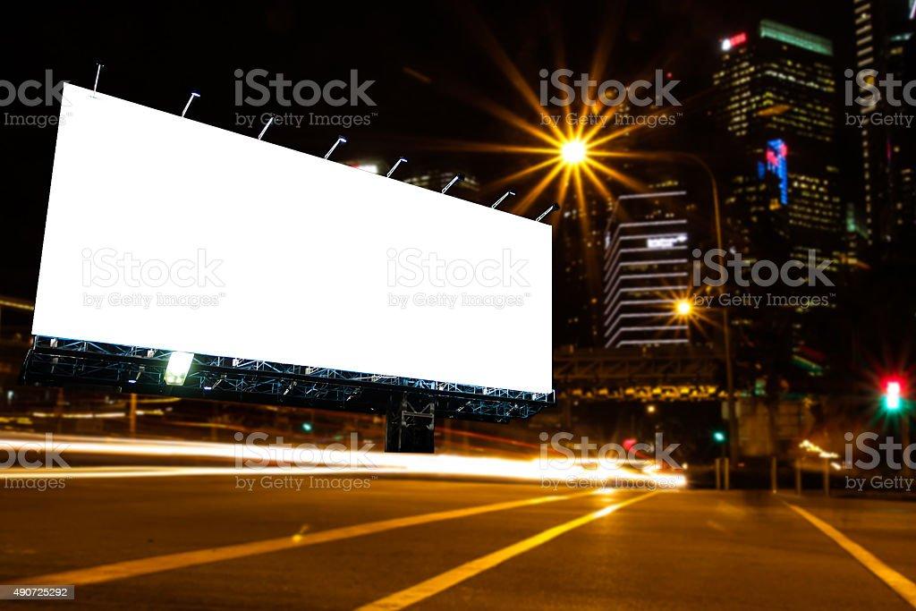 blank billboard at night. stock photo