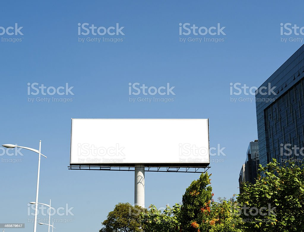 Blank billboard at side of road stock photo