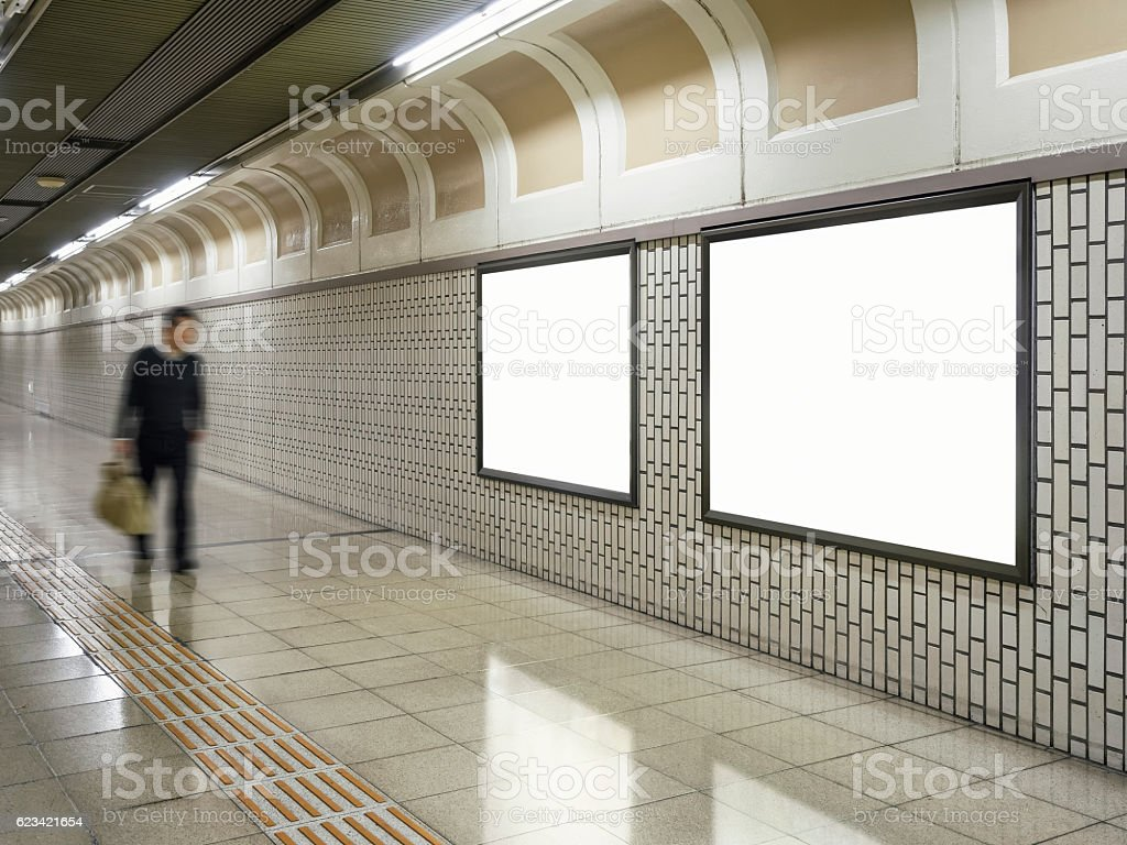 Blank Billboard Banner Media Light box Subway Blurred Businessman stock photo