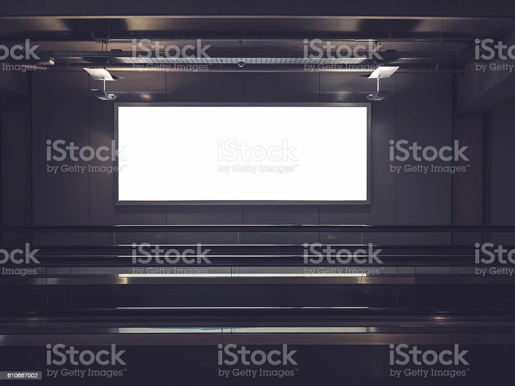 Blank Billboard Banner sign indoor display Interior stock photo