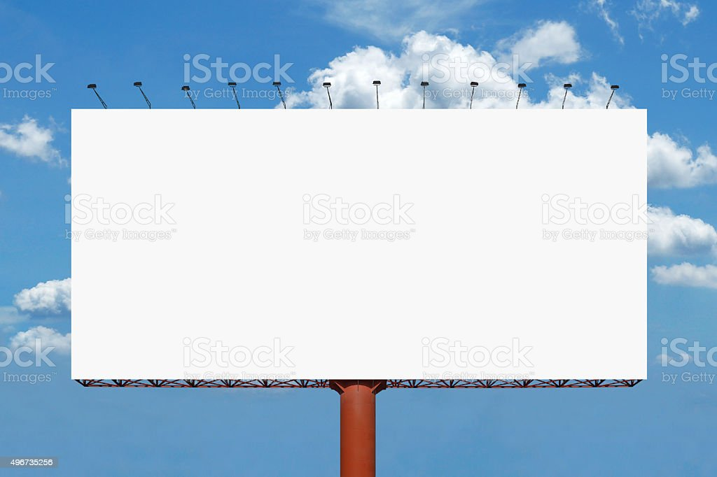 blank billboard for advertisement on sky background stock photo