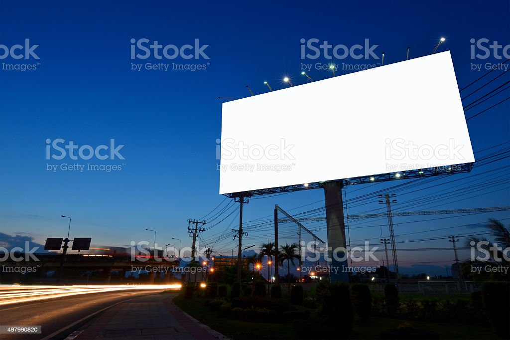 Blank billboard for advertisement stock photo