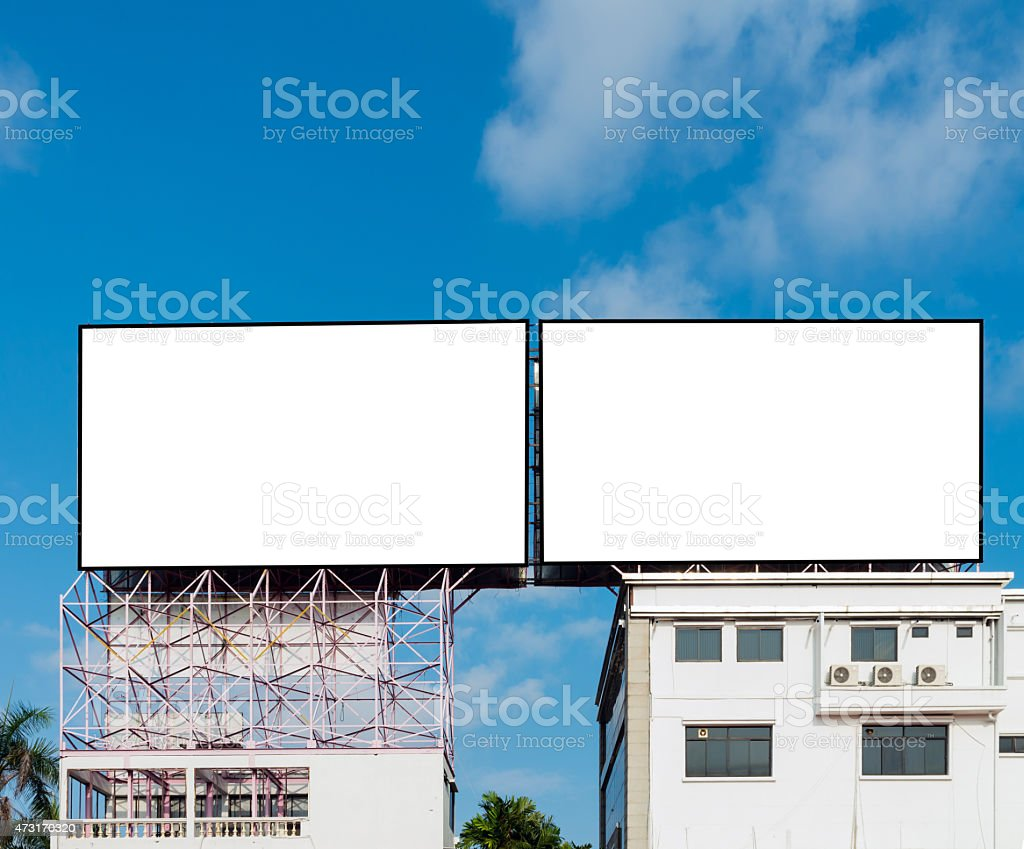 Blank billboard for new advertisement stock photo