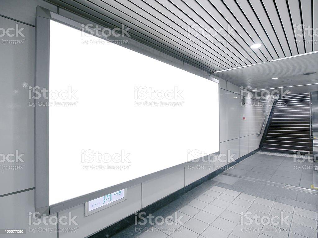 Blank billboard in a monochrome space royalty-free stock photo