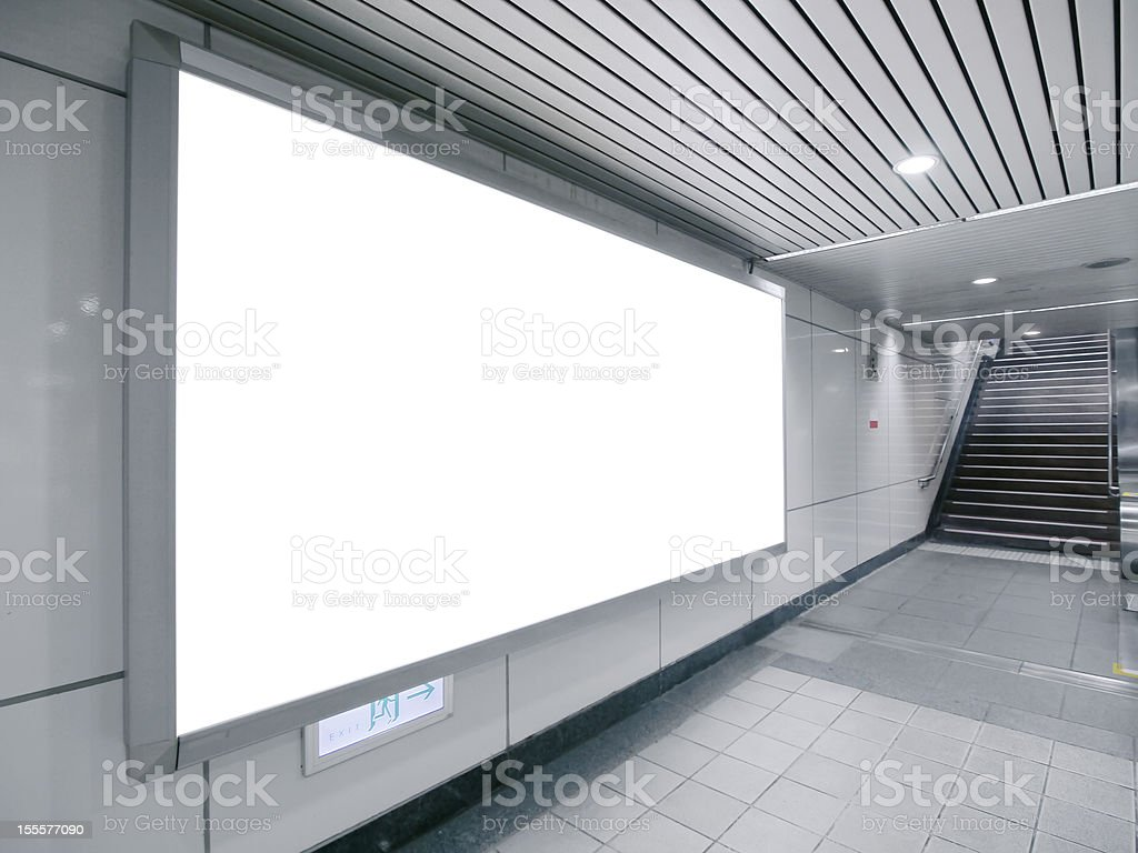 Blank billboard in a monochrome space stock photo