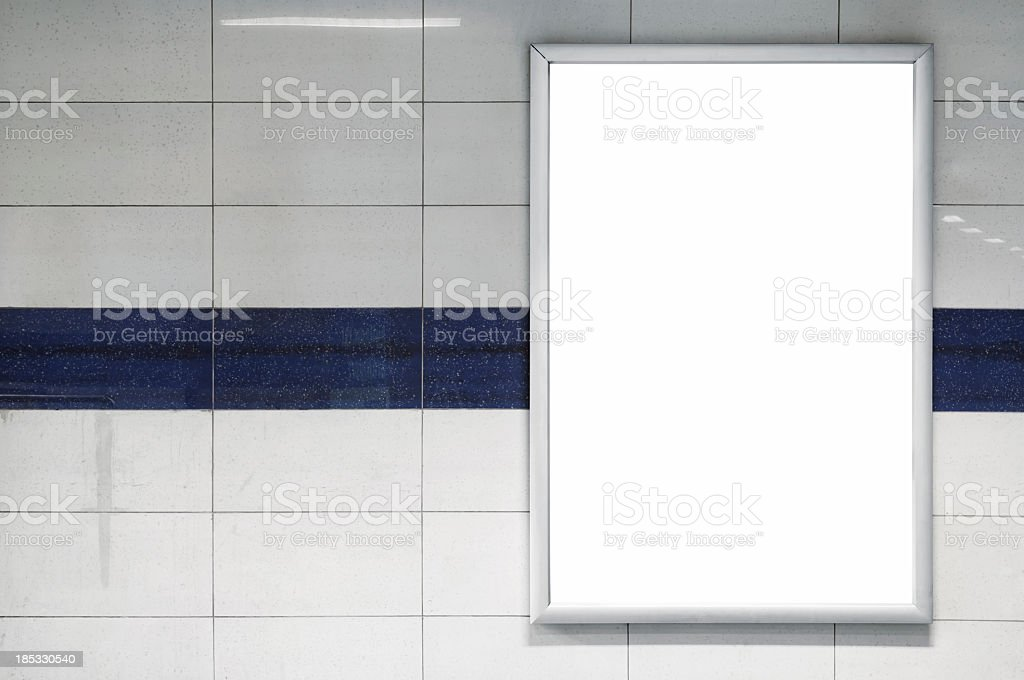 Blank Billboard in a subway station royalty-free stock photo