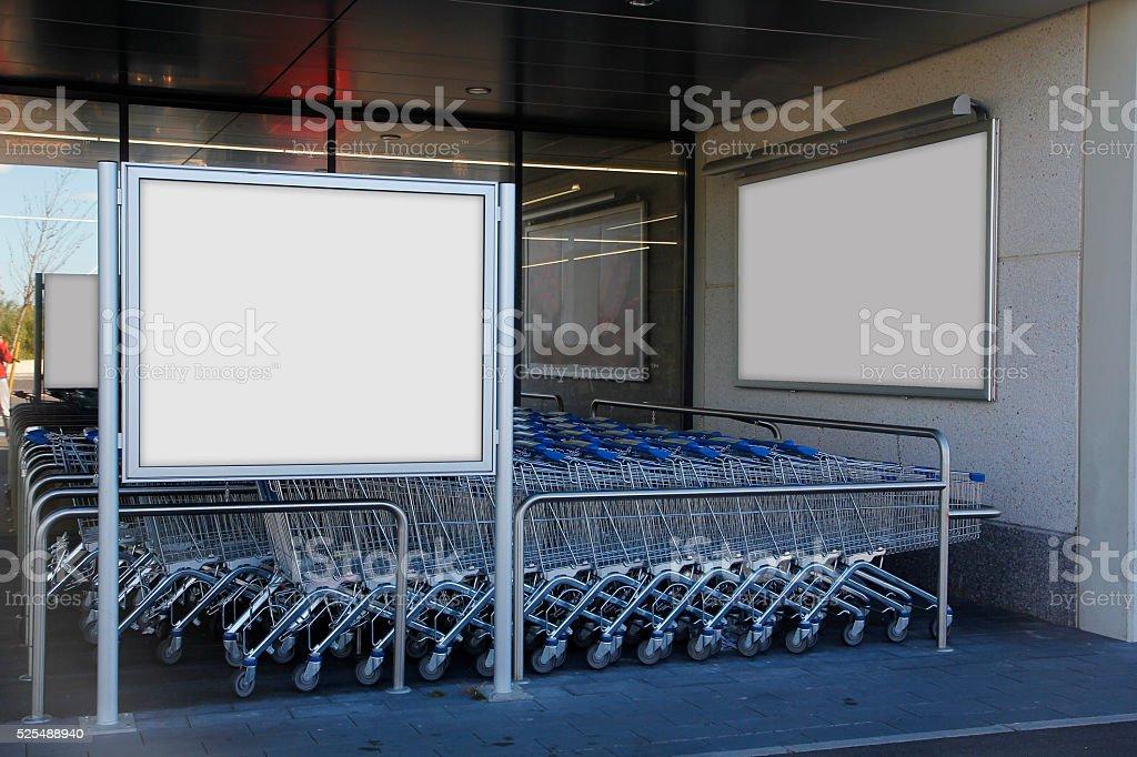 Blank billboard in a supermarket stock photo