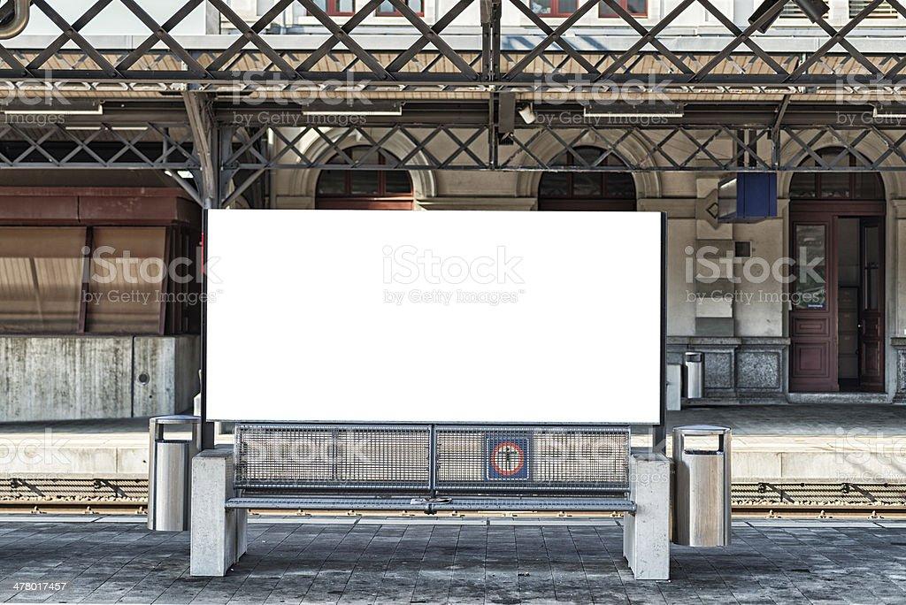 blank billboard in a swiss train station stock photo