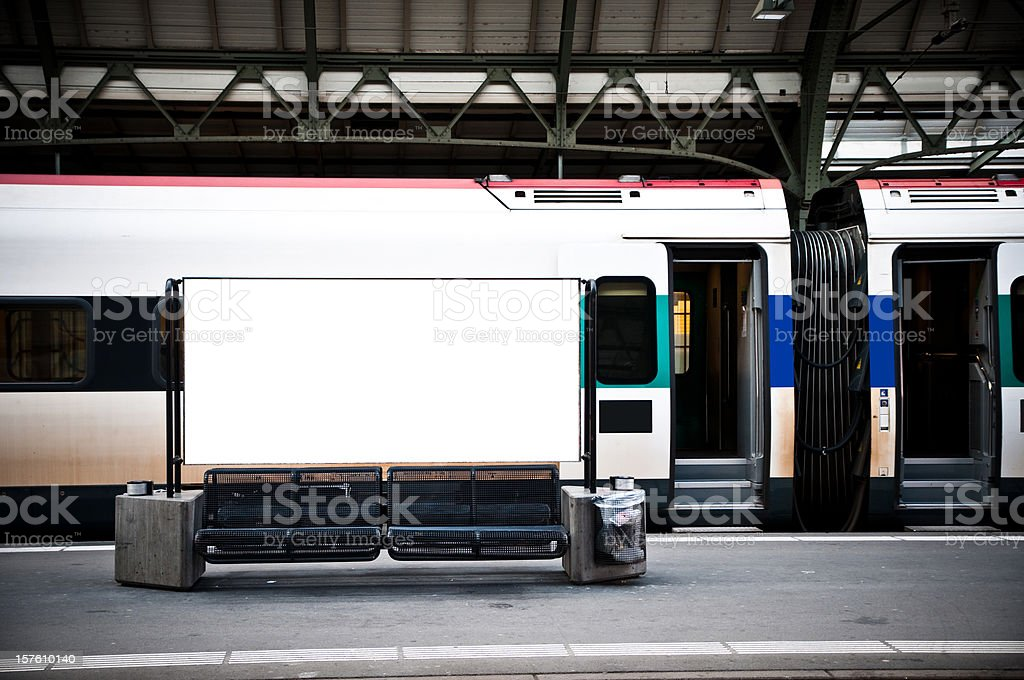 blank billboard in a train station stock photo