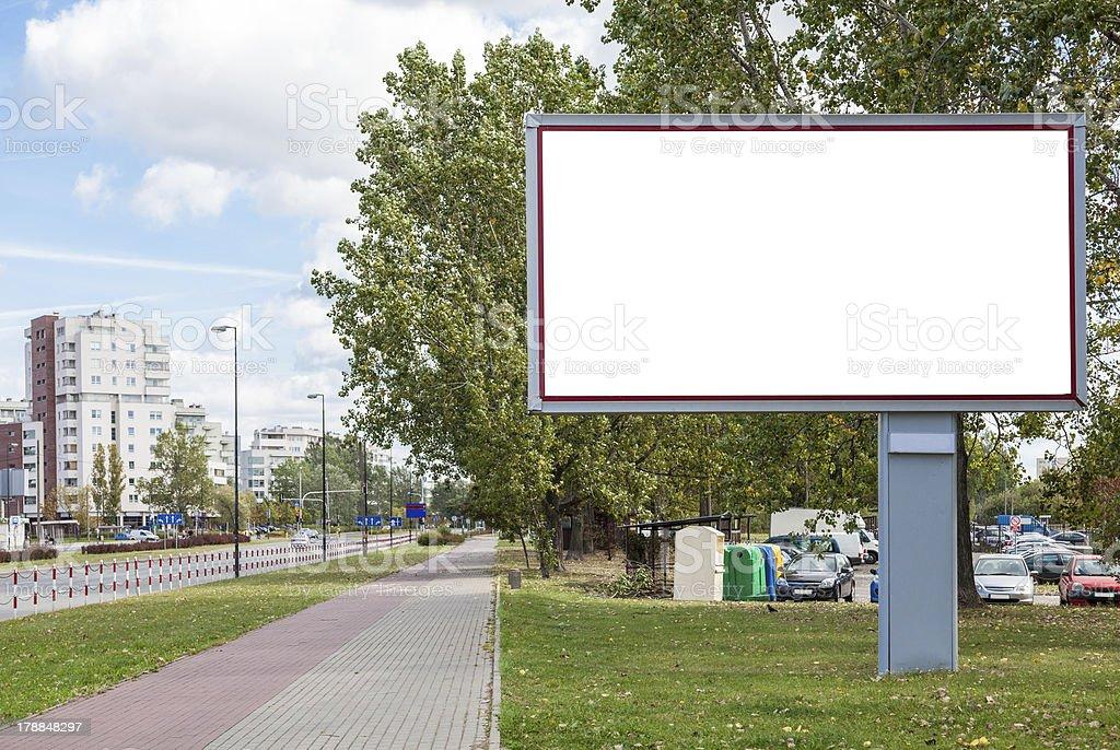 Blank billboard in city stock photo