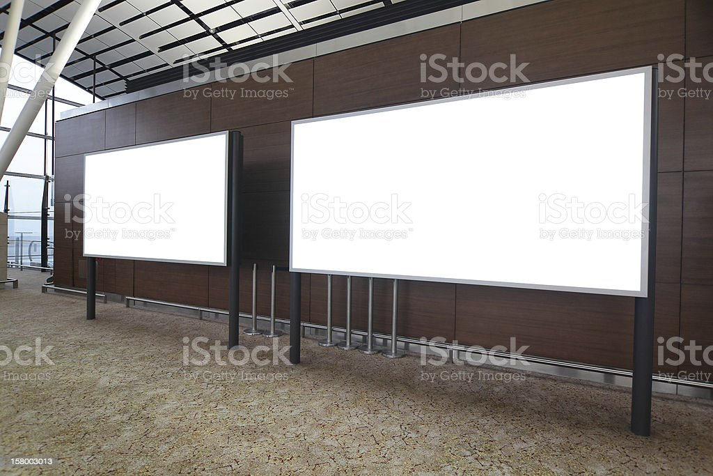 Blank Billboard in international airport royalty-free stock photo