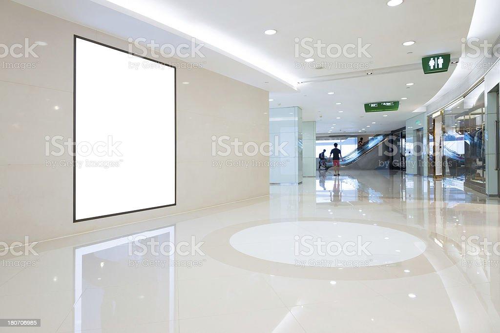 blank billboard in mall stock photo