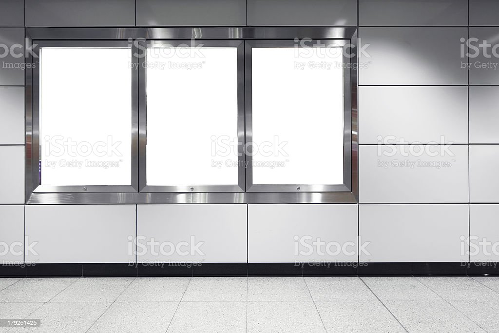 blank billboard in metro station stock photo
