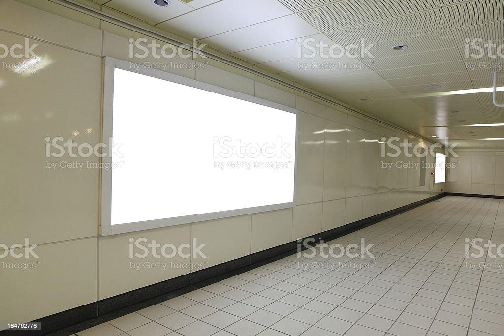 Blank billboard in metro station royalty-free stock photo