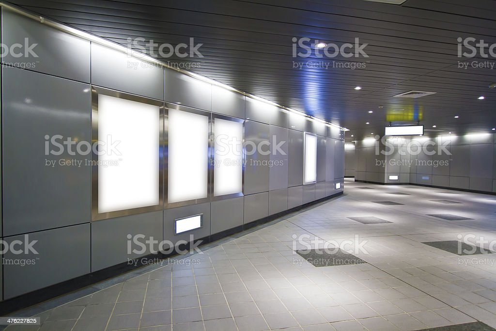 Blank billboard in metro station stock photo