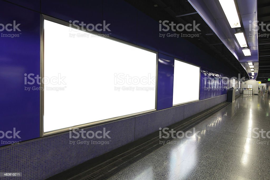 Blank Billboard in metro subway station stock photo