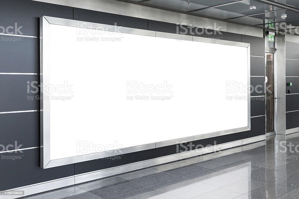 Blank billboard in modern interior stock photo