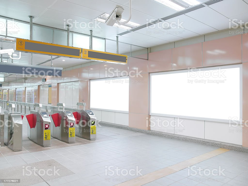Blank billboard in railway station stock photo