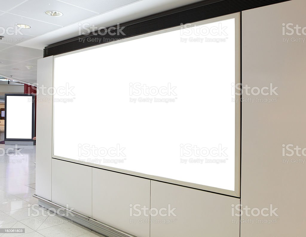 Blank billboard in the city building stock photo