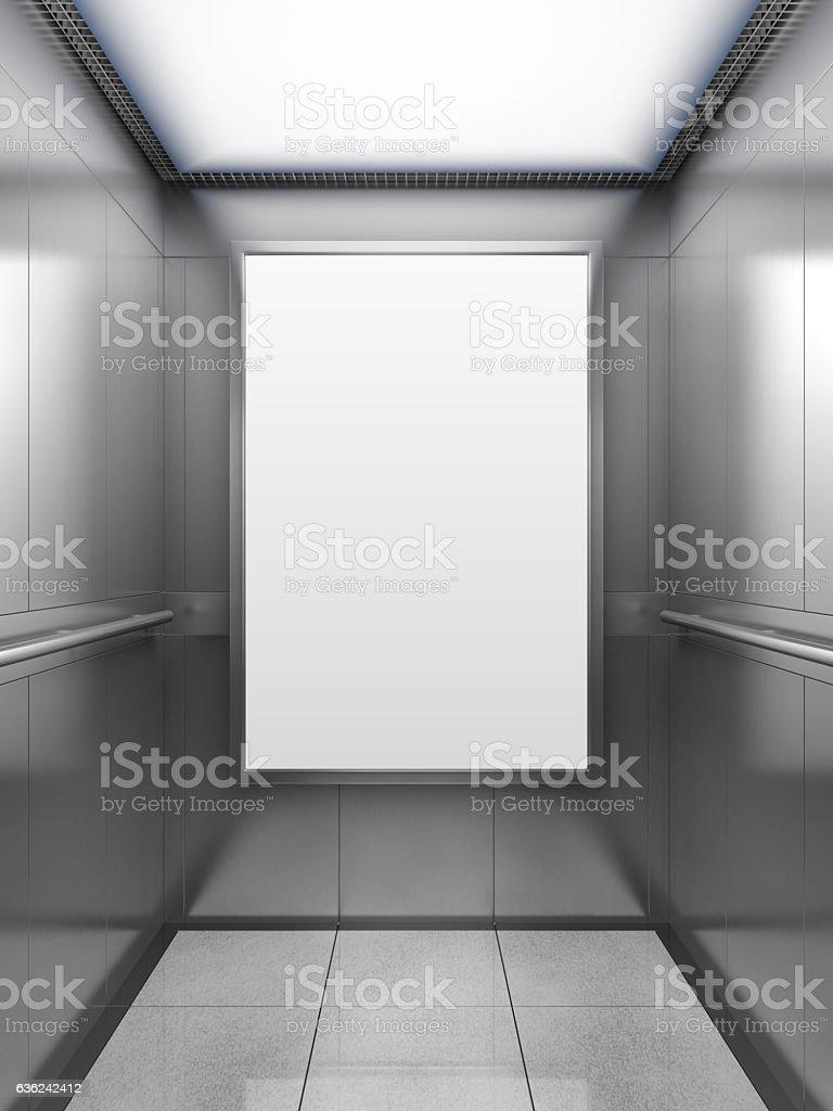 Blank billboard inside of elevator stock photo