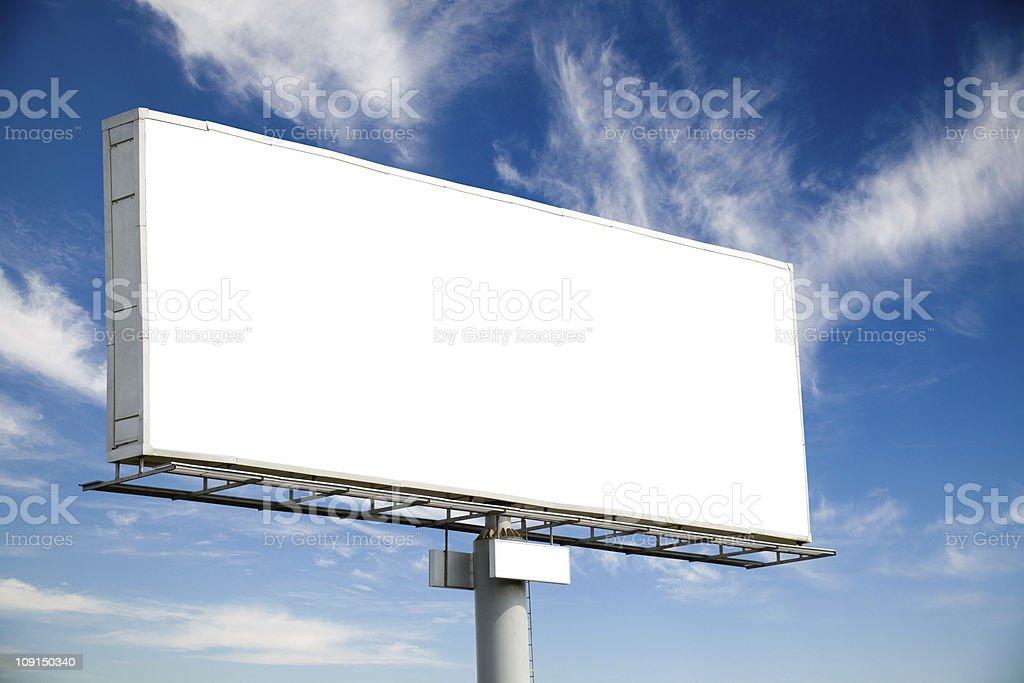 Blank billboard on blue sky stock photo