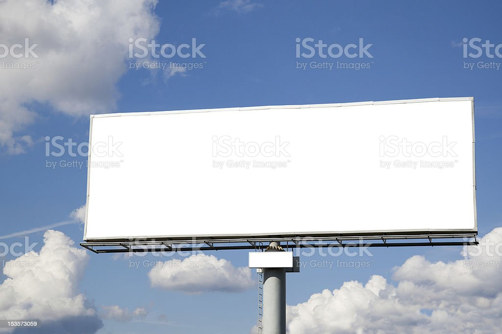 Blank billboard on blue sky stock photo