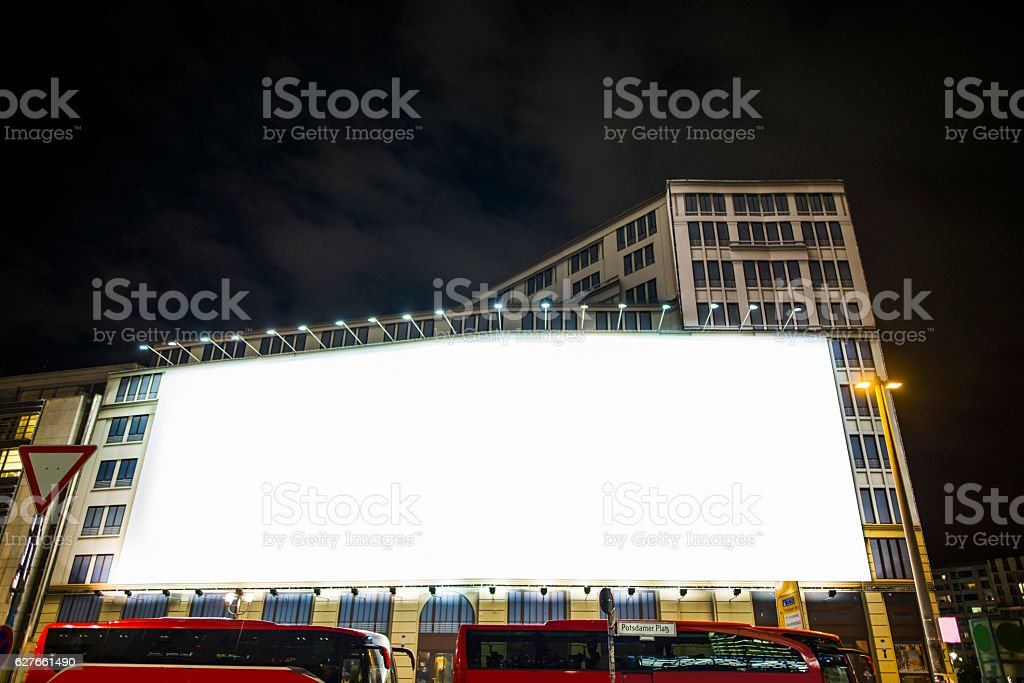 Blank billboard on building stock photo