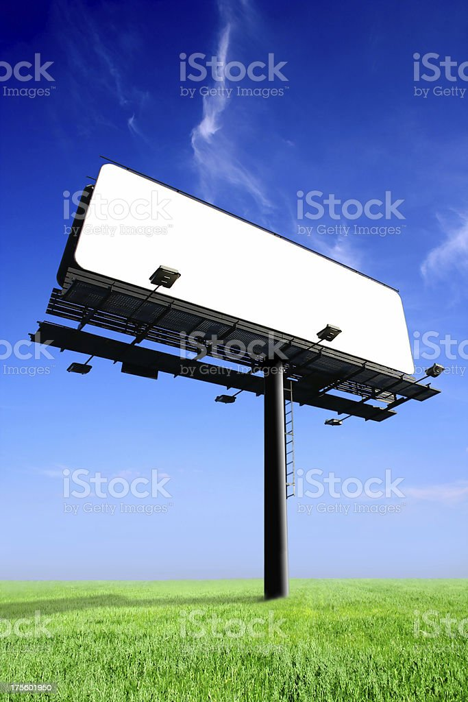 Blank Billboard On Field stock photo