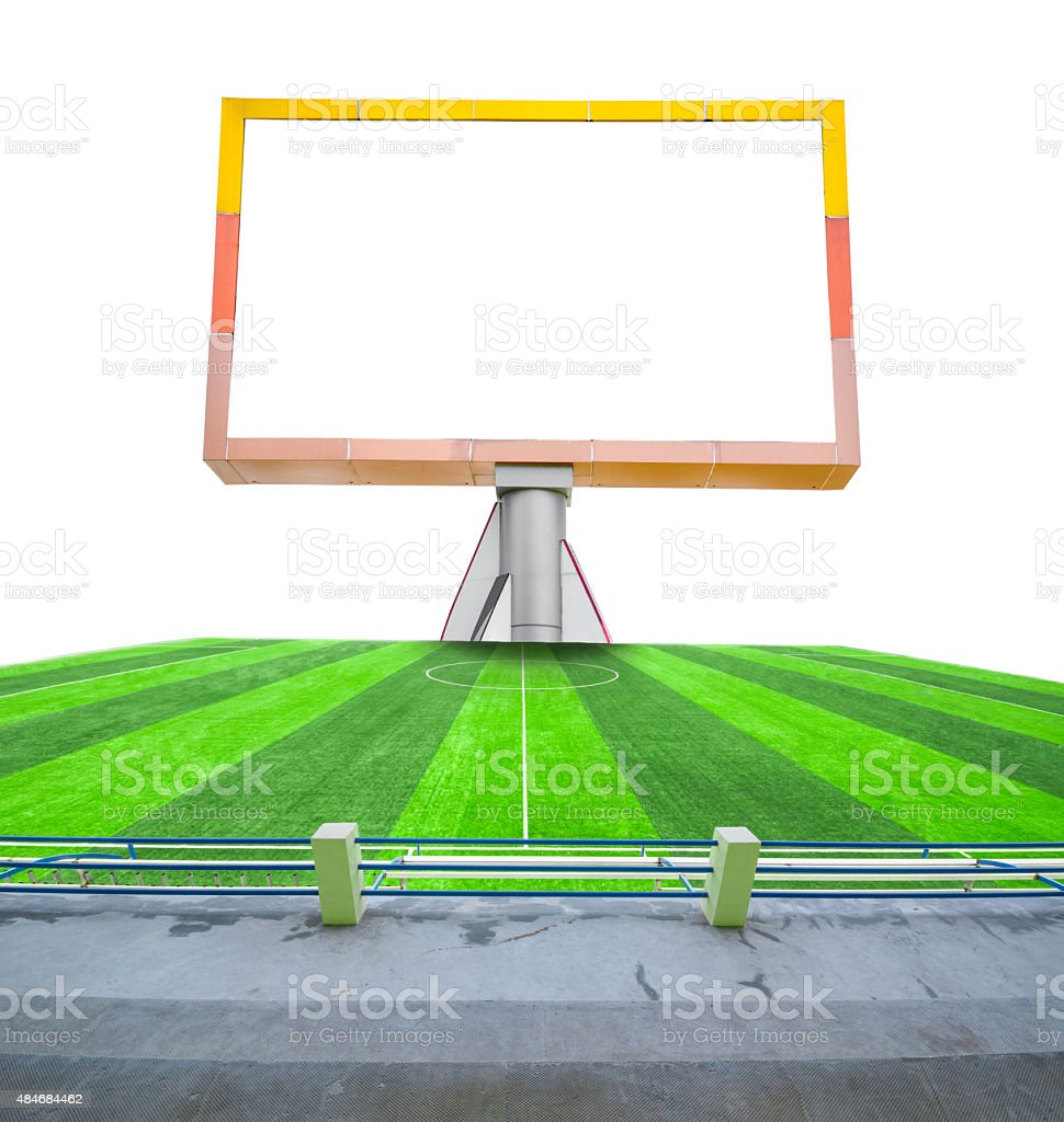 Blank billboard on field soccer. stock photo
