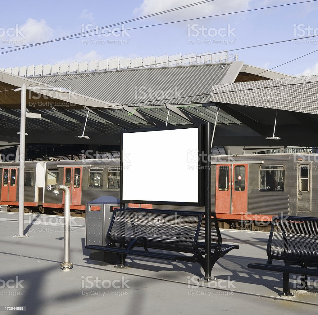 Blank billboard on railway station royalty-free stock photo