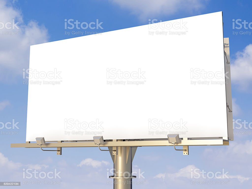 Blank billboard  on sky background stock photo