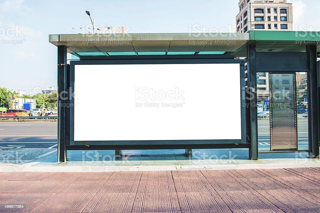 blank billboard on the city street stock photo