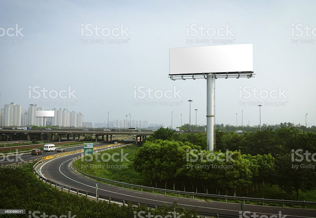 Blank Billboard on the high street royalty-free stock photo