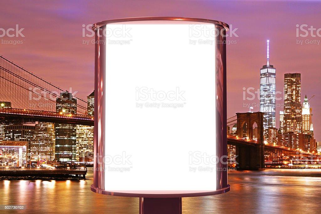 Blank billboard on the night city backgound, mock up stock photo