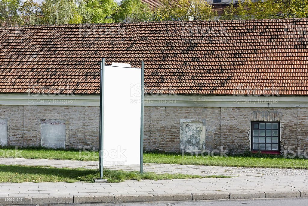 Blank  billboard on the very old cities street royalty-free stock photo