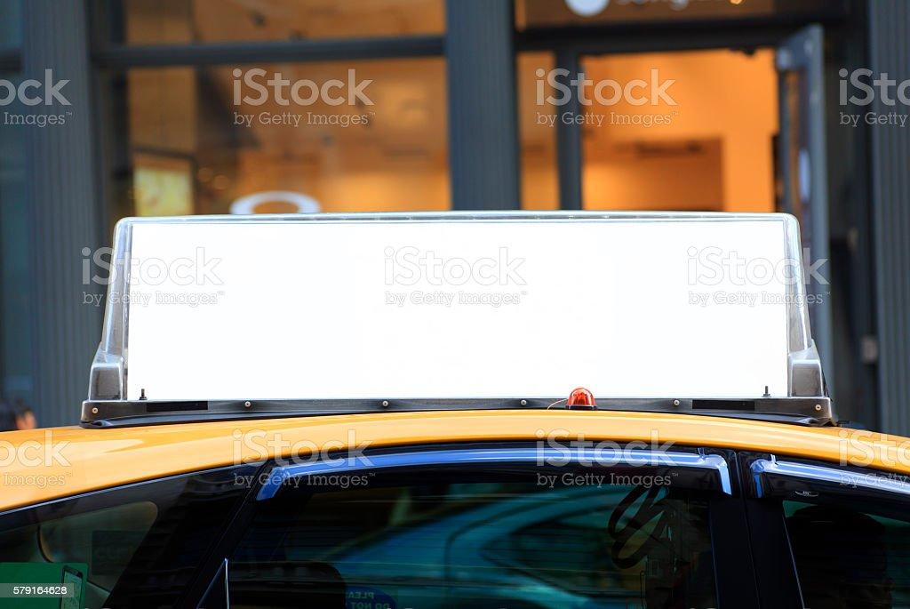 Blank Billboard on Yellow Cab stock photo