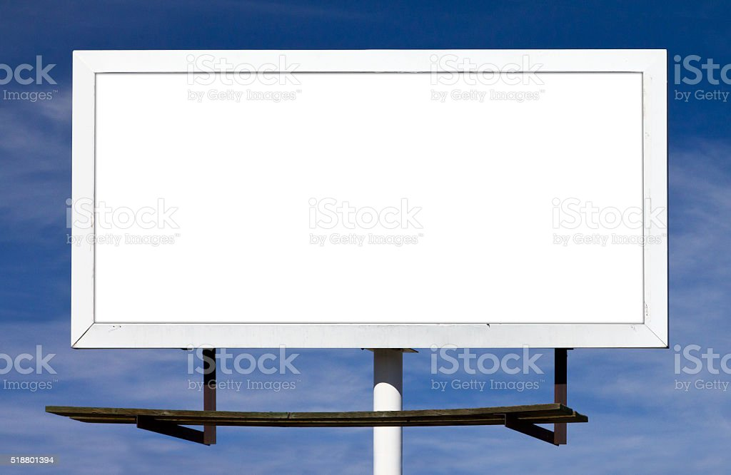 Blank Billboard Sign With Blank Background stock photo