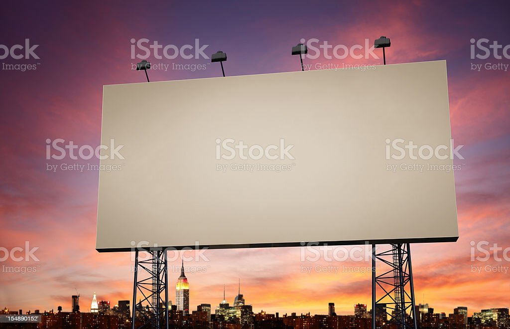 Blank Billboard with Evening Sky Background royalty-free stock photo