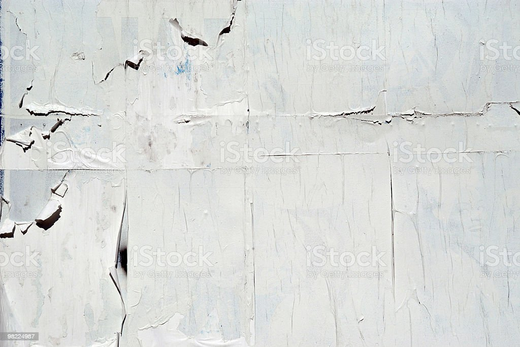 Blank billboard with weathered posters stock photo