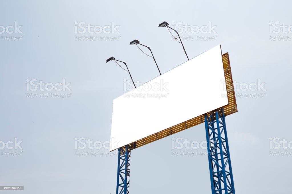 Blank billboards against stock photo