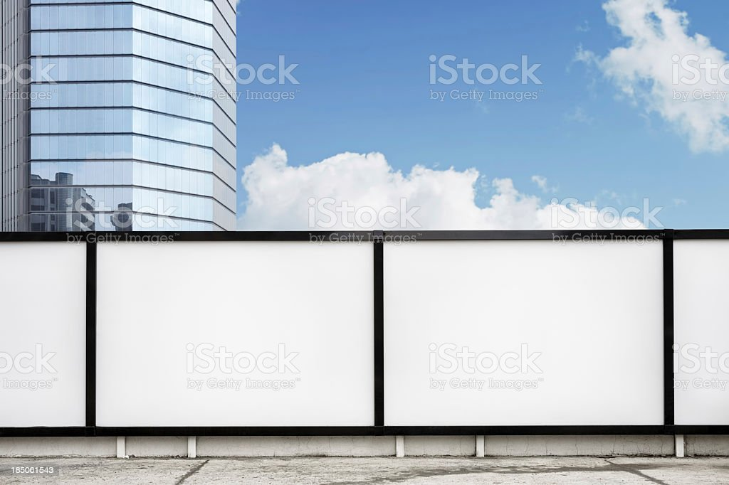 Blank billboards on street. stock photo