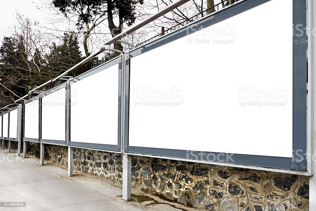 blank billboards on wall. stock photo