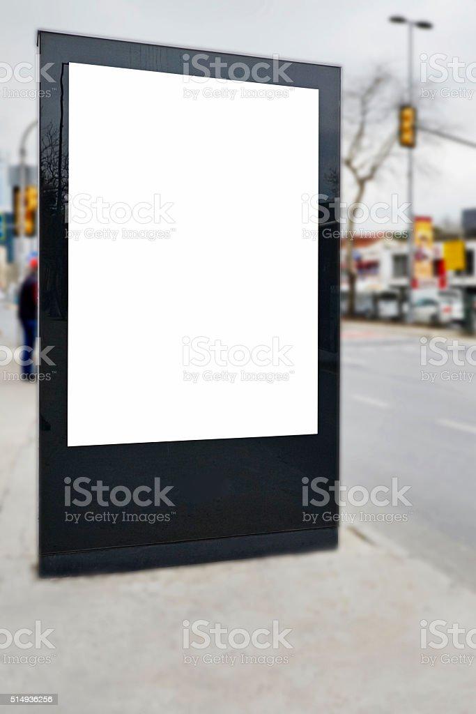 blank billboards on wall. stock photo