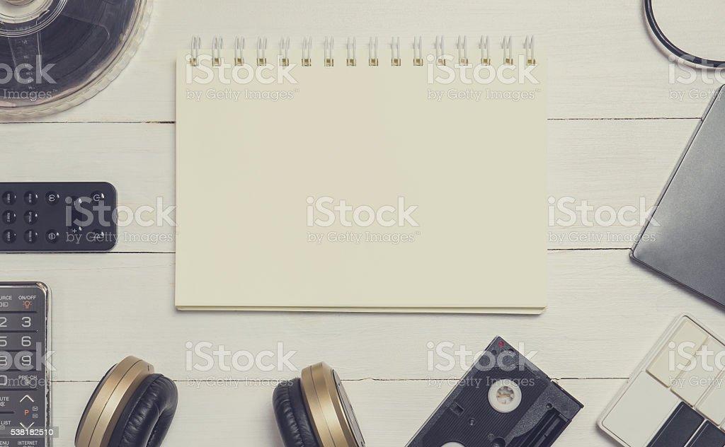 Blank Binding book surrounding by Entertainment stock photo