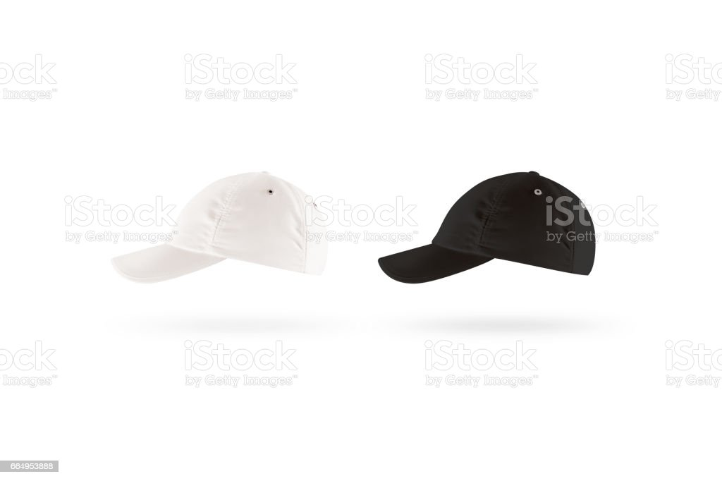 Blank black and white baseball cap mockup set, profile side view stock photo