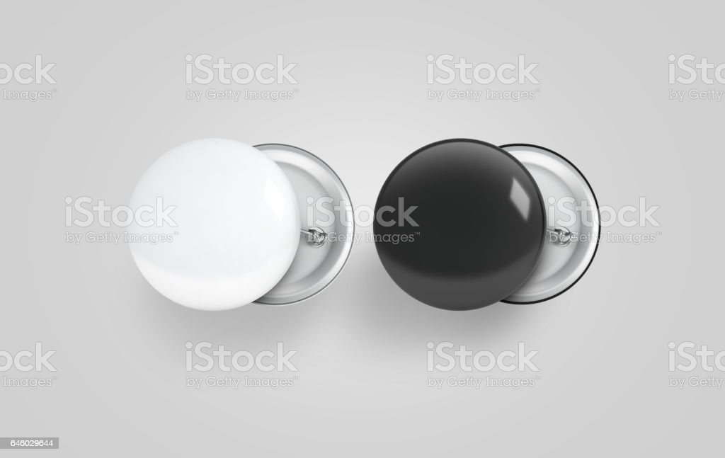 Blank black and white button badge mockup set stock photo
