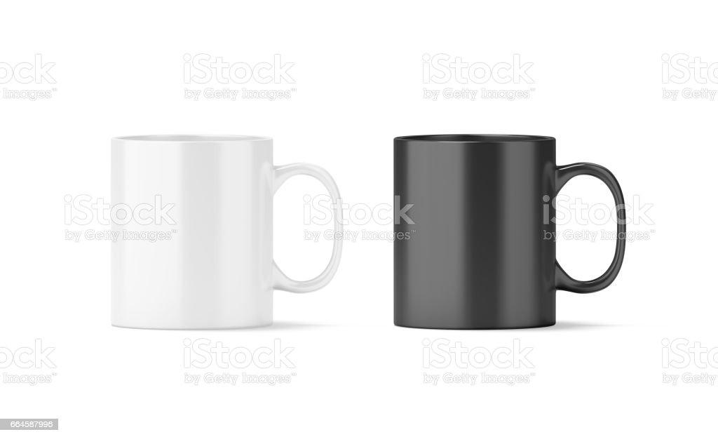 Blank black and white glass mug mockup isolated stock photo